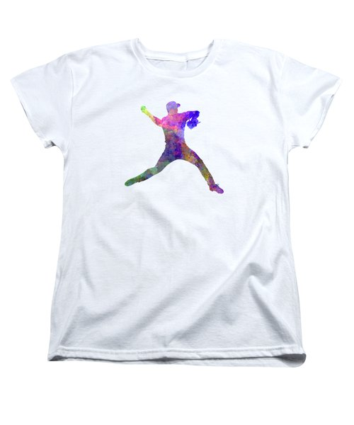 Baseball Player Throwing A Ball Women's T-Shirt (Standard Cut) by Pablo Romero