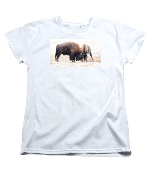 Women's T-Shirt (Standard Cut) featuring the photograph Battle Of The Bison In Rut by Yeates Photography