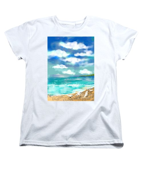 Beach Birds Women's T-Shirt (Standard Cut) by Elaine Lanoue