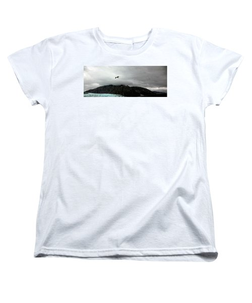 Women's T-Shirt (Standard Cut) featuring the photograph Bird Over Glacier - Alaska by Madeline Ellis