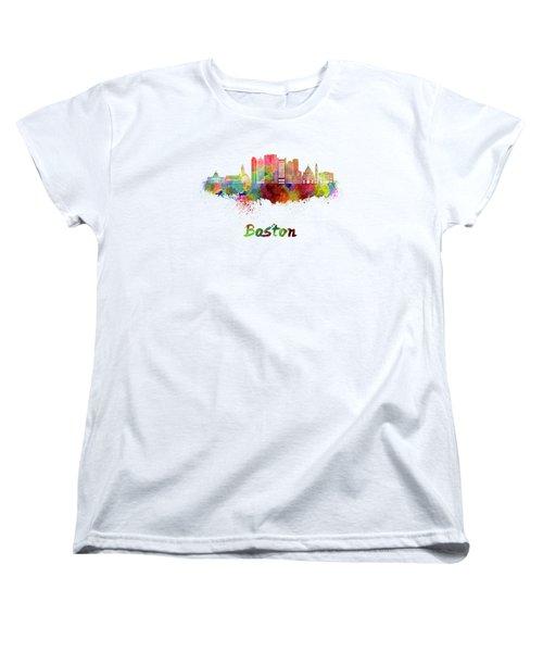 Boston Skyline In Watercolor Women's T-Shirt (Standard Cut)