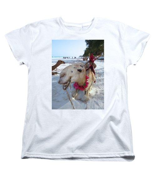Camel On Beach Kenya Wedding3 Women's T-Shirt (Standard Cut) by Exploramum Exploramum