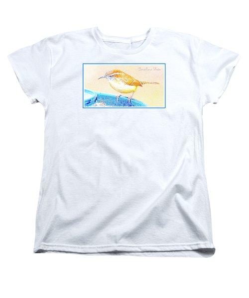 Carolina Wren, Winter Wren On Bird Feeder, Digital Art Women's T-Shirt (Standard Cut) by A Gurmankin