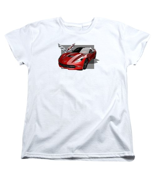 Chevrolet Corvette  C 7  Stingray With 3 D Badge  Women's T-Shirt (Standard Cut) by Serge Averbukh