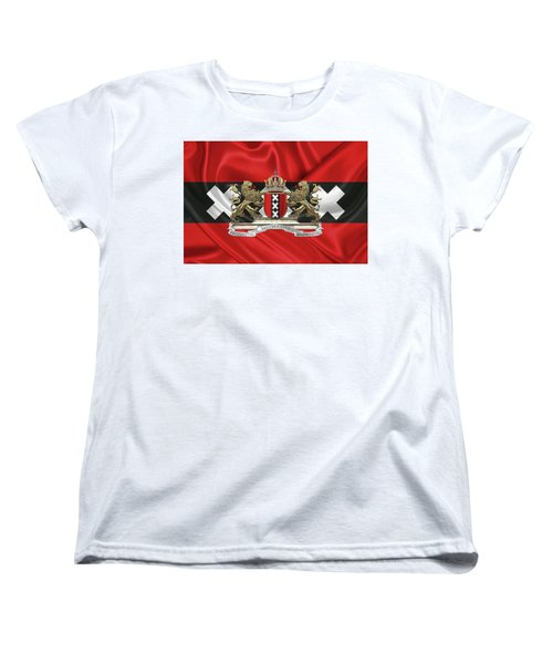 Coat Of Arms Of Amsterdam Over Flag Of Amsterdam Women's T-Shirt (Standard Cut) by Serge Averbukh