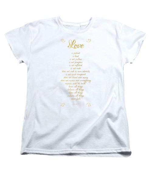 1 Corinthians 13 Love Is White Background Women's T-Shirt (Standard Cut)