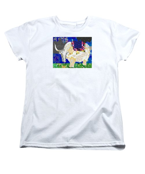 Stay Curious Cow Collage  Women's T-Shirt (Standard Cut) by Claudia Schoen