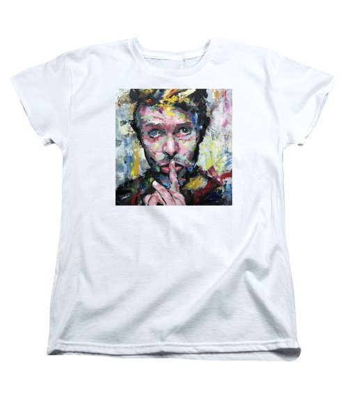 Women's T-Shirt (Standard Cut) featuring the painting David Bowie by Richard Day