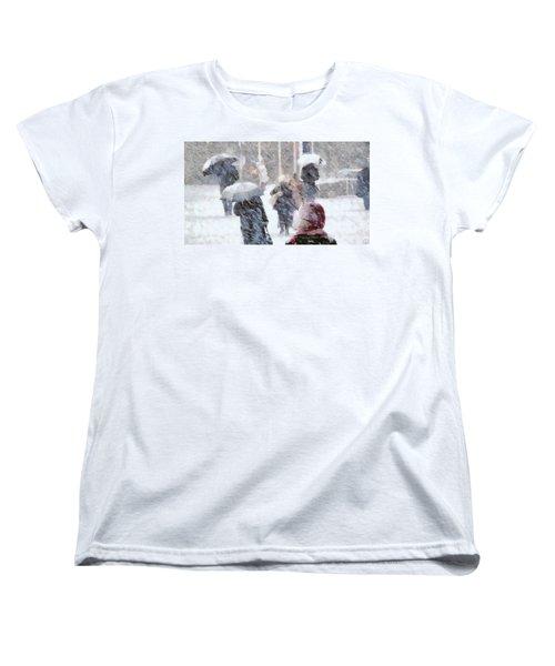 Women's T-Shirt (Standard Cut) featuring the digital art First Snow by Gun Legler