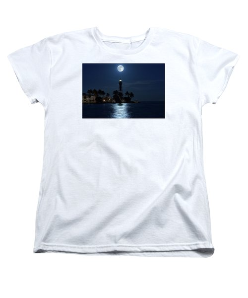 Full Moon Over Hillsboro Lighthouse In Pompano Beach Florida Women's T-Shirt (Standard Cut) by Justin Kelefas