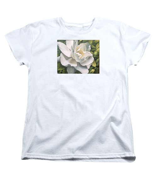 Women's T-Shirt (Standard Cut) featuring the painting Gardenia by Natalia Tejera
