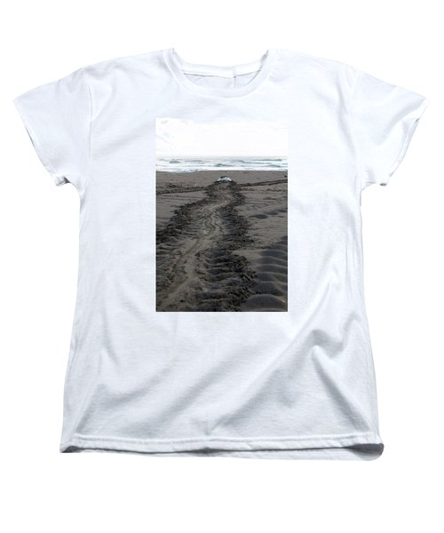 Women's T-Shirt (Standard Cut) featuring the photograph Green Sea Turtle Returning To Sea by Breck Bartholomew