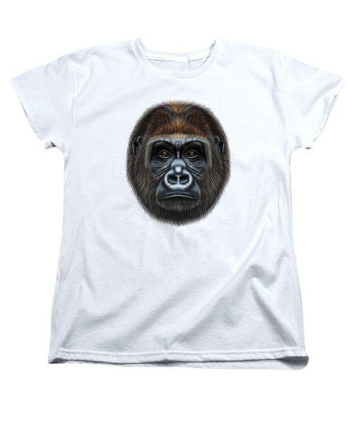 Illustrated Portrait Of Gorilla Male. Women's T-Shirt (Standard Cut)