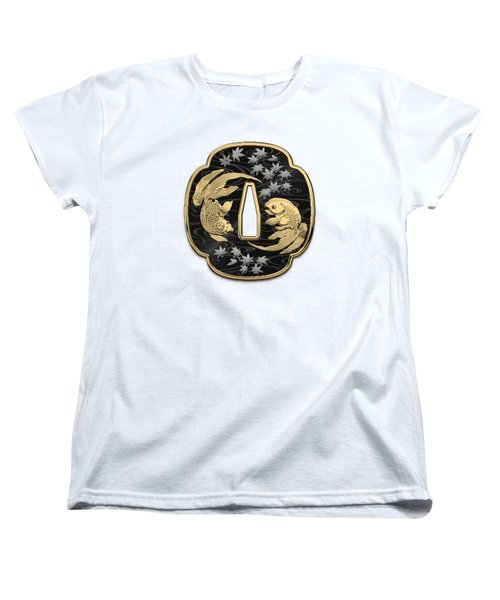 Japanese Katana Tsuba - Twin Gold Fish On Black Steel Over White Leather Women's T-Shirt (Standard Cut)