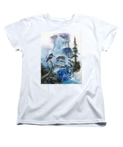 Women's T-Shirt (Standard Cut) featuring the painting Kingfisher's Realm by Sherry Shipley