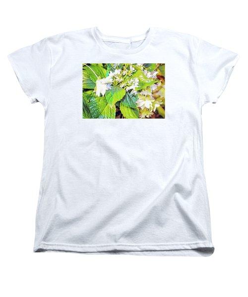 Women's T-Shirt (Standard Cut) featuring the photograph Little Orchids by Mindy Newman