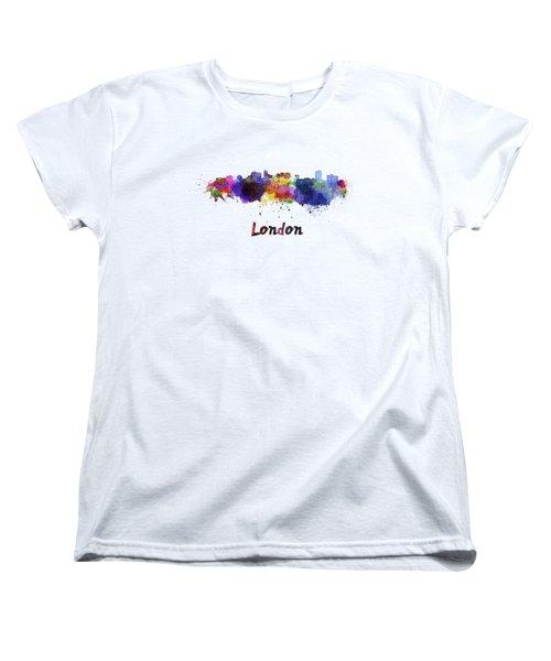 London Skyline In Watercolor Women's T-Shirt (Standard Cut) by Pablo Romero