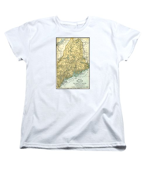 Maine Antique Map 1891 Women's T-Shirt (Standard Cut) by Phil Cardamone