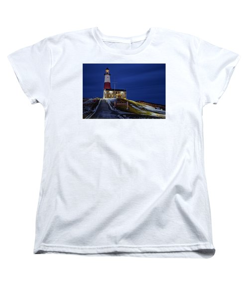 Women's T-Shirt (Standard Cut) featuring the photograph Montauk Point Lighthouse by Susan Candelario