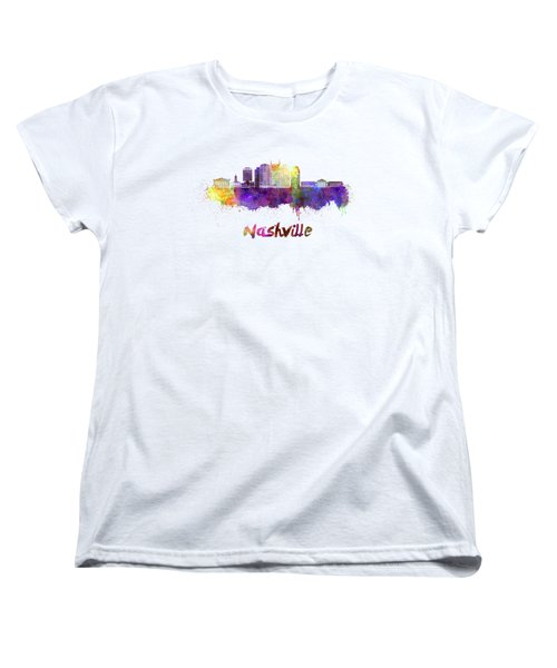 Nashville Skyline In Watercolor Women's T-Shirt (Standard Cut) by Pablo Romero