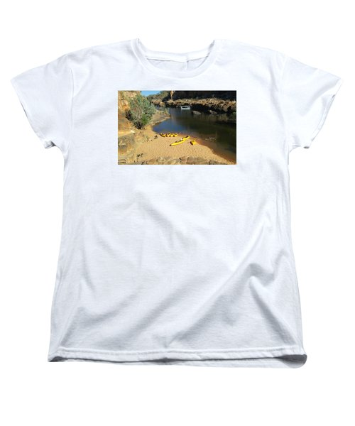 Women's T-Shirt (Standard Cut) featuring the photograph Nitmiluk Gorge Kayaks by Tony Mathews