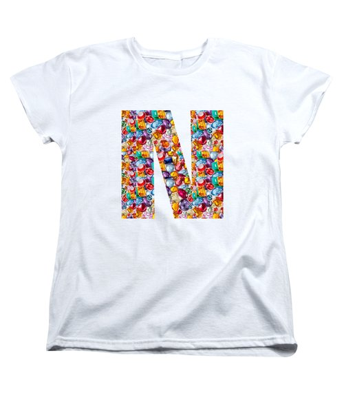 Nnn Nn N  Alpha Art On Shirts Alphabets Initials   Shirts Jersey T-shirts V-neck By Navinjoshi Women's T-Shirt (Standard Cut) by Navin Joshi