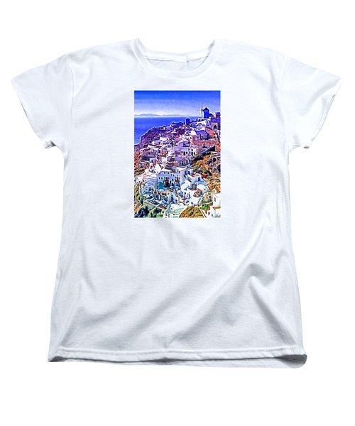 Oia Town On Santorini Women's T-Shirt (Standard Cut) by Dennis Cox WorldViews