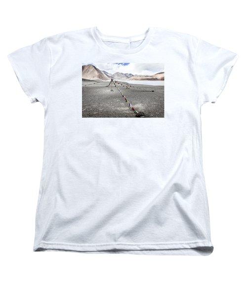 Women's T-Shirt (Standard Cut) featuring the photograph Pangong Tso Lkae by Alexey Stiop