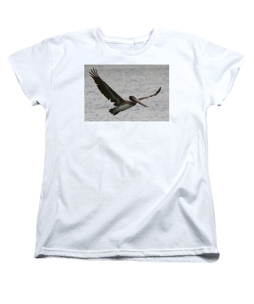 Women's T-Shirt (Standard Cut) featuring the photograph Pelican In Flight by Laurel Talabere