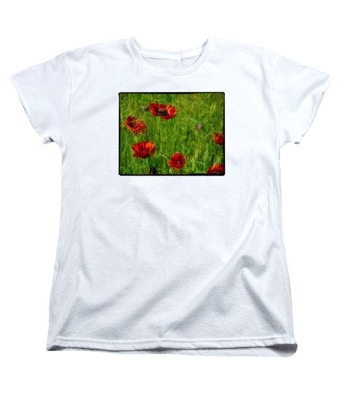 Poppies Women's T-Shirt (Standard Cut) by Hugh Smith