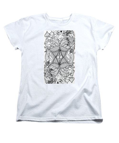 Women's T-Shirt (Standard Cut) featuring the drawing Queen Of Spades 2 by Jani Freimann