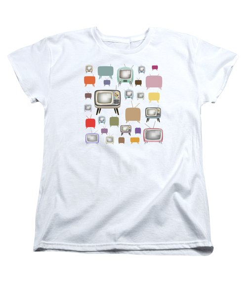 Women's T-Shirt (Standard Cut) featuring the painting Retro T.v. by Setsiri Silapasuwanchai