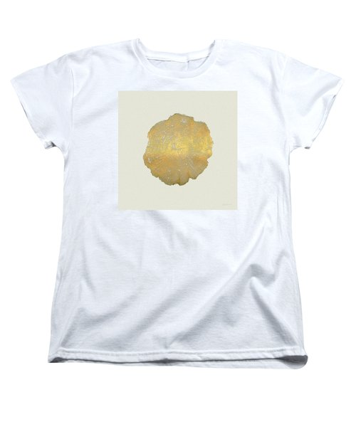 Rings Of A Tree Trunk Cross-section In Gold On Linen  Women's T-Shirt (Standard Cut) by Serge Averbukh