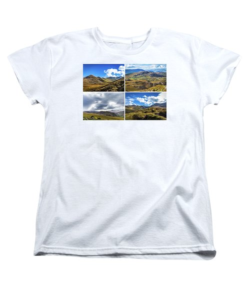Women's T-Shirt (Standard Cut) featuring the photograph Postcard Of Rock Formation Landscape With Clouds And Sun Rays In Ireland by Semmick Photo