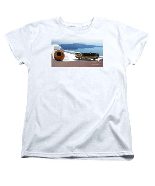 Women's T-Shirt (Standard Cut) featuring the photograph Santorini Greece by Bob Christopher