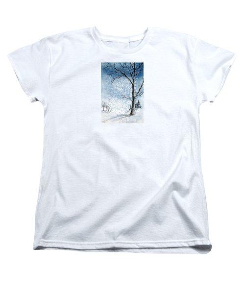 Snowy Night Women's T-Shirt (Standard Cut) by Rebecca Davis