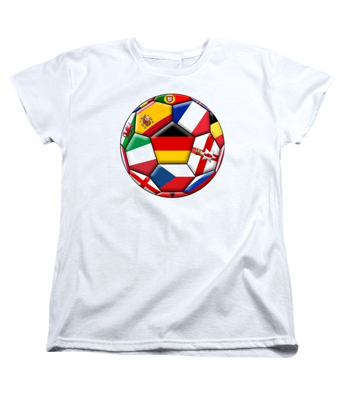 Soccer Ball With Flag Of German In The Center Women's T-Shirt (Standard Cut) by Michal Boubin