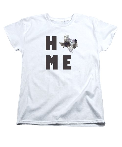 Women's T-Shirt (Standard Cut) featuring the digital art Texas State Map by Marlene Watson