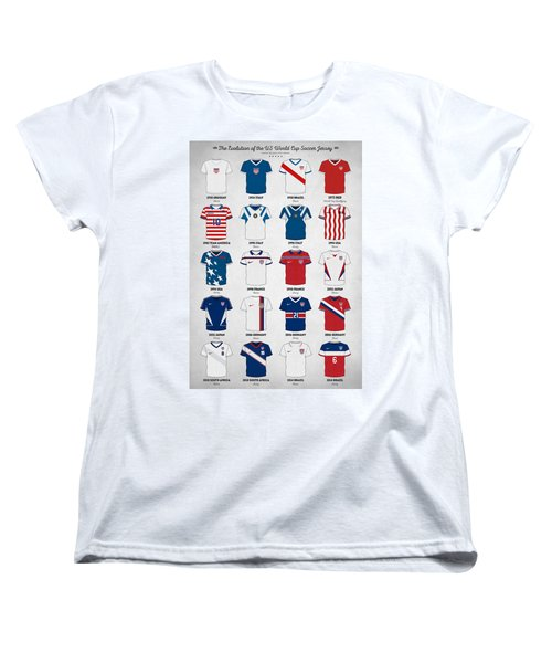 The Evolution Of The Us World Cup Soccer Jersey Women's T-Shirt (Standard Cut) by Taylan Apukovska