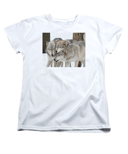 Three Wolves Are A Crowd Women's T-Shirt (Standard Cut) by Gary Slawsky