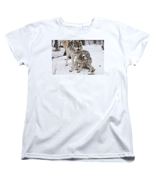 Women's T-Shirt (Standard Cut) featuring the photograph Timber Wolves In Winter by Michael Cummings