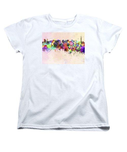 Tokyo Skyline In Watercolor Background Women's T-Shirt (Standard Cut)