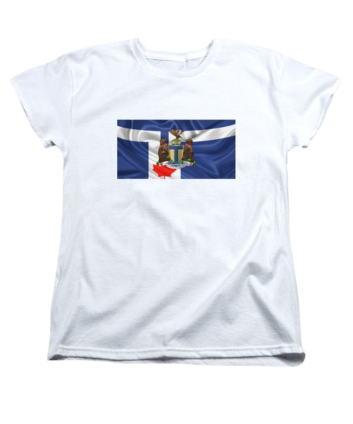 Toronto - Coat Of Arms Over City Of Toronto Flag  Women's T-Shirt (Standard Cut) by Serge Averbukh