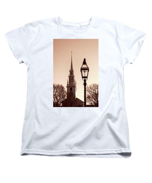 Trinity Church Newport With Lamp Women's T-Shirt (Standard Cut) by Nancy De Flon