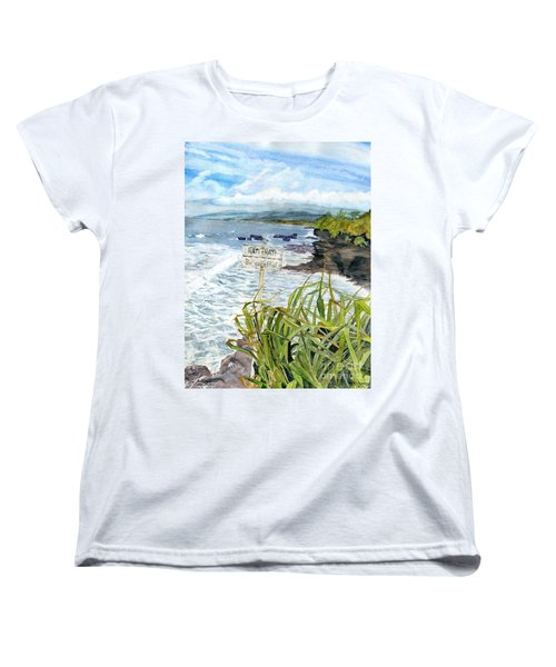 Women's T-Shirt (Standard Cut) featuring the painting View From Tanah Lot Bali Indonesia by Melly Terpening