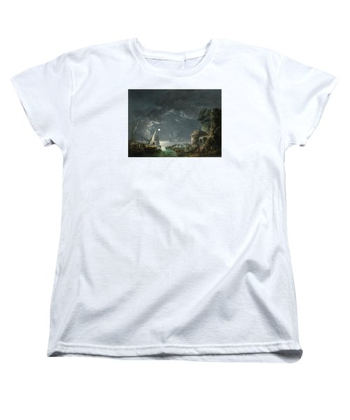 Women's T-Shirt (Standard Cut) featuring the painting View Of A Moonlit Mediterranean Harbor by Carlo Bonavia