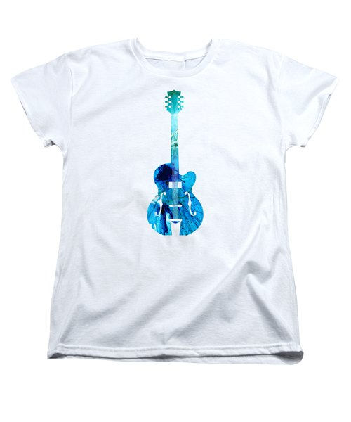 Vintage Guitar 2 - Colorful Abstract Musical Instrument Women's T-Shirt (Standard Cut) by Sharon Cummings