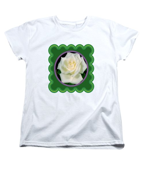 White Rose Flower Floral Posters Photography And Graphic Fusion Art Navinjoshi Fineartamerica Pixels Women's T-Shirt (Standard Cut) by Navin Joshi