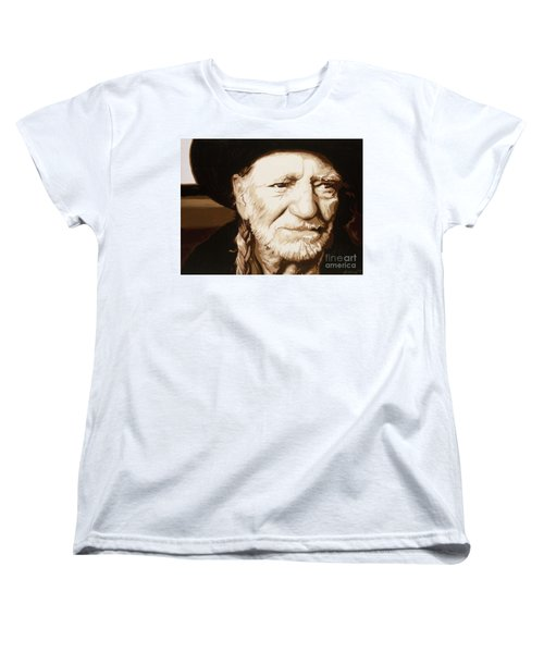 Women's T-Shirt (Standard Cut) featuring the painting Willie Nelson by Ashley Price