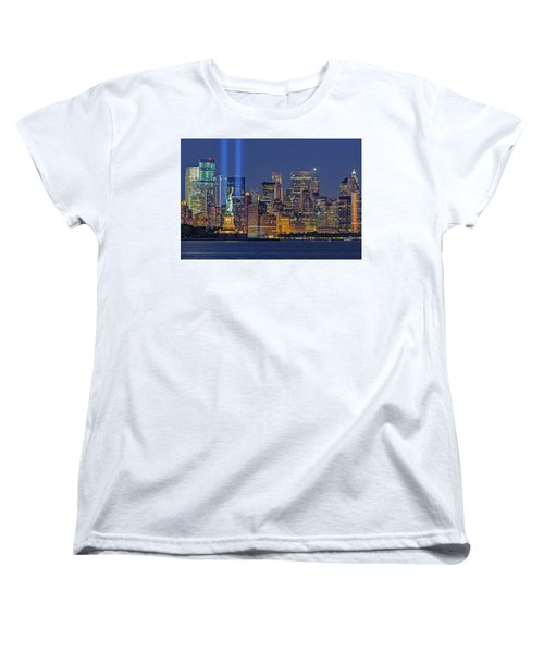 Women's T-Shirt (Standard Cut) featuring the photograph World Trade Center Wtc Tribute In Light Memorial II by Susan Candelario